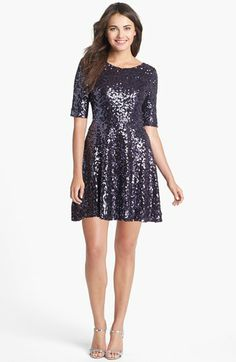 French Connection 'Ozlem' Scoop Back Sequin Fit & Flare Dress available at #Nordstrom