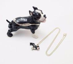 New Trinket Box Gift Crystals Black White Pit Bull Dog Animal Necklace