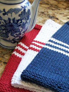 French Stripe Dishcloth-Red, White and Blue