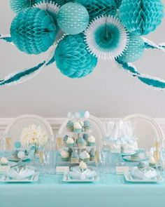 Turquoise blue party decor ideas from Martha Celebrations at jcp. Turquoise Party, Wedding Turquoise, Turquoise Table, Turquoise Color, Tiffany Party, Tiffany Blue, Tiffany Theme, Colorful Party, Party Entertainment