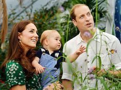 Exclusive: Photos released on Prince George's first birthday. The Duke and Duchess are with wee Prince George at the Sensational Butterflies exhibit in London on July 2. A family party is planned on Prince George's birthday, today.