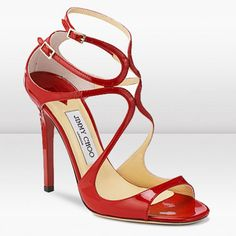 French Footwear Jimmy Choo Clearance Lance 115mm Red Patent Leather Strappy Sandals Personalized Sexy and Sleek