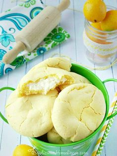A bucket of Lemon Pudding Cheesecake Cookies created by sewlicioushomedecor Strawberry Pudding Cheesecake Cookies Lemon Desserts, Lemon Recipes, Just Desserts, Sweet Recipes, Delicious Desserts, Yummy Food, Sweet Desserts, Pudding Cookies, Cheesecake Cookies