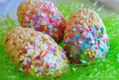 Rice Krispies Easter Egg Treats  rice krispies rolled in the shape of an egg.  dipped in frosting and sprinkles!