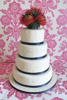 4 Tier Hand Piped Wedding Cake, with Tartan Ribbon, Protea and Thistle Floral Topper
