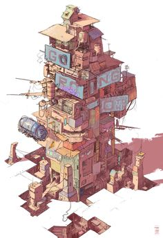 ArtStation is the leading showcase platform for games, film, media & entertainment artists. Environment Concept Art, Environment Design, Fantasy Landscape, Fantasy Art, Town Drawing, Post Apocalyptic City, Japon Tokyo, Anime City, Cyberpunk City