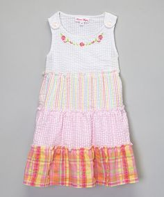 This Pink Color Block Tiered Dress - Toddler & Girls by Forever Magic is perfect! #zulilyfinds