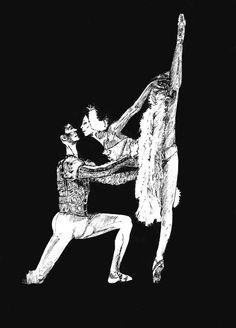 #Dibujo para el reto. #Semana6. Por Isabel Ortega. Pareja de #bailarines.