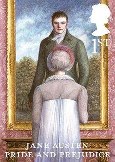 """Selo comemorativo dos 200 anos de """"Orgulho e preconceito"""" de Jane Austen. São 6 modelos, um para cada romance da escritora."""
