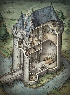 Mike Schley castle cutaway map cartography | Create your own roleplaying game material w/ RPG Bard: www.rpgbard.com | Writing inspiration for Dungeons and Dragons DND D&D Pathfinder PFRPG Warhammer 40k Star Wars Shadowrun Call of Cthulhu Lord of the Rings LoTR + d20 fantasy science fiction scifi horror design | Not Trusty Sword art: click artwork for source