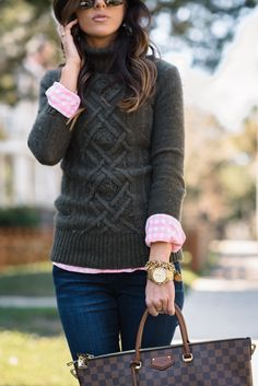 I am always a sucker for a good cable knit sweater! I love the shade of this tur.I am always a sucker for a good cable knit sweater! I love the shade of this turtleneck, and the pop of the pink check shirt underneath makes for a great outfit. Preppy Outfits, Casual Fall Outfits, Mode Outfits, Preppy Style, Fashion Outfits, Preppy Wardrobe, Fashion Pants, Pink Check Shirt, Knit Sweater Outfit