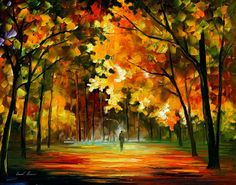 water paintings by famous artists | FIEST OF LEAFS — PALETTE KNIFE Oil Painting On Canvas By Leonid ...
