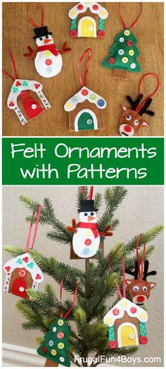 Fun Christmas craft for kids! Kids can make their own felt ornaments with these free printable patterns. No sewing required. Snowman, Christmas tree, reindeer, and gingerbread house ornaments. Snowman Christmas Decorations, Felt Christmas Ornaments, Christmas Crafts For Kids, Christmas Snowman, Holiday Decor, House Ornaments, Felt Crafts, Reindeer, Patterns