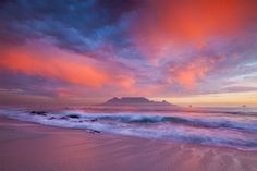 Table Mountain from Blouberg Beach, Cape Town, South Africa