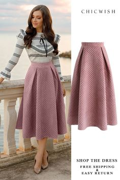 Fancy Sheen Quilted Velvet Skirt in Pink featured by larisacostea Search results for: 'velvet skirt' - Retro, Indie and Unique Fashion How to wear fall fashion outfits with casual style trends Modest Fashion, Hijab Fashion, Fashion Dresses, Look Fashion, Unique Fashion, Womens Fashion, 70s Fashion, Led Dress, Dress Skirt