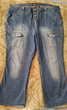 No Boundaries stretch junior 23 denim blue jeans pants buttons fly leg pocket  #NoBoundaries #Flare
