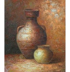 Like the texture of the hand crafted pottery just spilled out onto the entire surface of this canvas art, a rough and sandy finish gives this piece a down-to-earth feel. This still life of two beautif