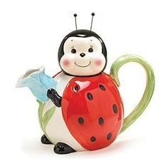Lady bug teapot... which I have one like and the 2 babies with it are salt and pepper shakers. Too cute!