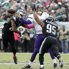 Eagles vs. Vikings  -  21-10, Eagles  -  October 23, 2016        Minnesota Vikings' Sam Bradford, center, fumbles the ball against Philadelphia Eagles' Mychal Kendricks, right, and Rodney McLeod during the first half of an NFL football game, Sunday, Oct. 23, 2016, in Philadelphia. (AP Photo/Chris Szagola)