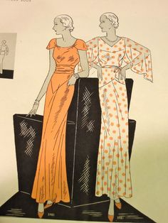 The 1930s chic, how I love... Especially the 'frock' on the left, that little sleeve (and a neckline perfect for 'dress clips', amirite? :)). From the June-July 1932 Vogue Pattern Magazine