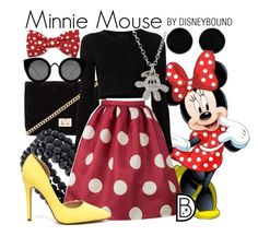 Minnie Mouse by leslieakay on Polyvore featuring Cushnie Et Ochs, Forever 21, Apt. 9, AeraVida, Disney, Quay, disney, disneybound and disneycharacter