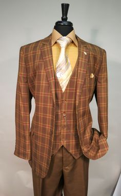 Falcone Lucky 87 Vested Brown Tartan Plaid Men's Suit Single Breasted 2 Button Suit Jacket with Notch Lapel and matching Tartan Vest with a Watch Chain and Pleated Flange Back Belted Detail Only $179.99 @ www.BerganBrothersSuits.com