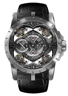 This Roger Dubuis Excalibur Quatuor has a case made  entirely of silicon (according to the brand, the first such watch of its kind), a mater...