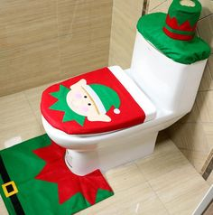 3Pcs Set Christmas Decorations For Home Santa Claus Elk Snowman Toilet Seat Cover And Rug