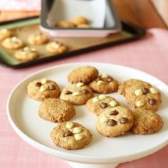 Kinda Healthy Choc Chip Cookies. These cookies are crunchy and filling with added oats.  They do contain a little sugar and the choc chips are optional if you like. #sweets #desserts #recipes