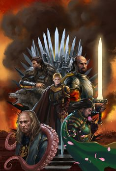 A Song of Ice and Fire - Robb Stark, Grey Wind, Joffrey Baratheon, Stannis Baratheon, Renly Baratheon and Balon Greyjoy (by zippo514)