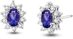 Vivid Elegance Woman's 0.70cttw Tanzanite And Diamond Earring Set In 14k Gold.