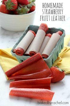 Easy Homemade Strawberry Fruit Leather Recipe from bakedbyrachel.com- strawberries, sugar and lemon. 6-8 hours on 175.