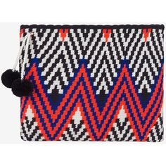 Sophie Anderson Lia Zig Zag Fabric Zip Top Clutch ($315) ❤ liked on Polyvore featuring bags, handbags, clutches, black, special occasion handbags, evening clutches, sophie anderson, zip top handbags and cocktail purse