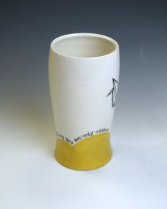"""Amanda Barr """"All My Lies Are Only Wishes"""" Wilco quote pottery tumbler."""