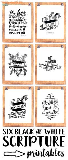 Black and White Scripture Printables Six Black and White Scripture Printables: Bundle of six scripture prints to frame for your home or office.Six Black and White Scripture Printables: Bundle of six scripture prints to frame for your home or office. Scripture Study, Bible Art, Bible Quotes, Scripture Crafts, Scripture Chalkboard Art, Scripture Lettering, Family Scripture, Bibel Journal, Do It Yourself Inspiration