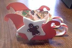 Slitta Natale carta, feltro e candy cane