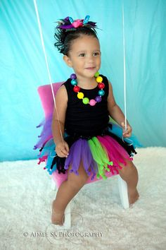 Neon Rainbow Monster High Knotted Tutu Birthday Party Pop Star Diva Tutu Baby Girl 12mos 18mos 24mos 2t 3t 4t 5t 6x. via Etsy.