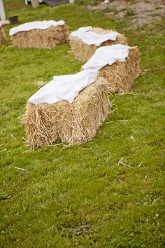 hay bales for lounging outside - now seriously considering doing this...saves a TON of money!