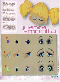Tutorial para dibujar los ojos de las muñecas de goma eva paso a paso