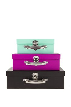 Stack and store it with this stylish storage solution! The Typo Rectangle Suitcase Storage Set is the perfect way to display, store & transport in style! This multi-purpose set features 3 printed suitcases that fit neatly inside each other making it perfect for those with small spaces/apartments. Made from sturdy cardboard with metal handles and closure. Dimensions: Small 20 x 14 x 8cm, Medium 25 x 17 x 8.5cm, Large 30 x 20.5 x 9cm