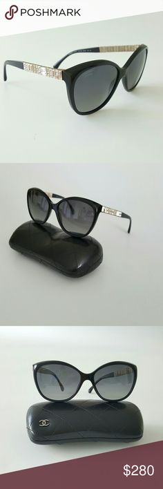Chanel Black Cristal  Bijou Polarized Sunglasses Authentic Chanel Cristal  Bijou Polarized Butterfly Black   Sunglasses 5309-B the rims have the cat eye point with tint of violet gray. The arms have a length of cubed crystals for a timeless style and going well with any outfit.  Eye 59mm Bridge 16mm Temple 140mm Gently worn only few times like new no scratches,  coming with case . CHANEL Accessories Sunglasses