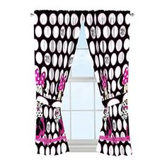 Disney Minnie Mouse Dots Are New Black Microfiber 4 Piece Curtain Panel Tie Back ** You can find out more details at the link of the image.