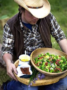 Broccoli Salad: broccoli, bacon, tomatoes, chives   Jamie Oliver
