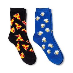 Davco Women's 2-Pack Fun Socks Pizza/Beer - Black One Size, Size: 9- ($5.99) ❤ liked on Polyvore featuring intimates, hosiery, socks, black, black hosiery and black socks