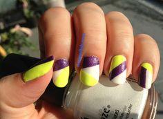 WOW Polish: Bright Colorblocking Nail Art: White, Yellow and Purple