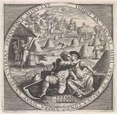Anonymous | Juni: hooien, Anonymous, Crispijn van de Passe (I), Maerten de Vos, c. 1574 - c. 1687 | De maand juni: een vrijend boerenpaar dat uitrust tijdens het hooien. Op de achtergrond hooibalen en boeren op een akker. Midden boven het teken van de dierenriem dat bij de maand juni hoort: Kreeft. De prent heeft een omlijsting met een randschrift in het Latijn dat verwijst naar de werken van de maand juni. Kopie in spiegelbeeld naar de gelijknamige prent van Crispijn van de Passe (I).