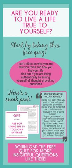 Are you living a life true to yourself or one that people expect of you? Sometimes our conditionings get the best of us and they trick us into thinking that what we do, we do from our hearts, when really, we are doing them to be accepted by the outside world. So let this quiz guide you through 45 thought-provoking and insightful questions to learn more about yourself and see if you are living a life true to who you are.--personal growth | self discovery