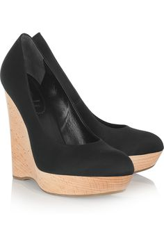 Satin and wooden wedge pumps by Yves Saint Laurent