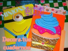 DIY Decora tus cuadernos, Folder, Carpetas MINIONS Perzonaliza/ Decorate...