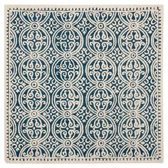 Contemporary classic styling and fashion-smart tones impart classy character on this Safavieh Cambridge Gena area rug. The intricate geometric designs of Gena create a marvelous focal point in room decor while its soft wool pile comforts underfoot. Square Rugs, 9 Square, Modern Moroccan, Moroccan Style, Moroccan Lounge, Moroccan Blue, Navy Rug, Navy Couch, Contemporary Classic
